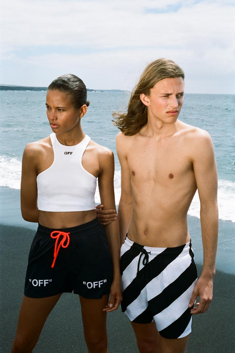 Vilebrequin x Off White Swim Shorts Black White Striped