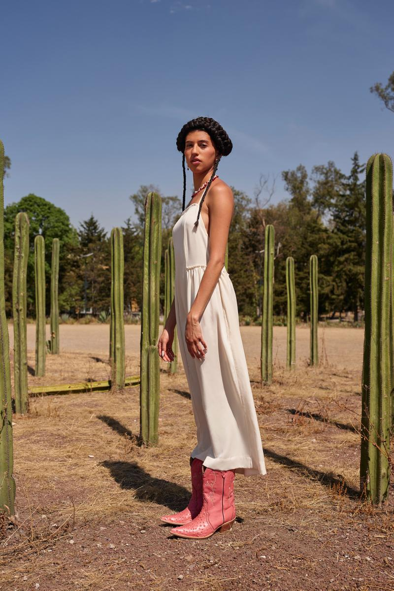 Opening Ceremony Year of Mexico Editorial Campaign Dress Cream Boots Pink