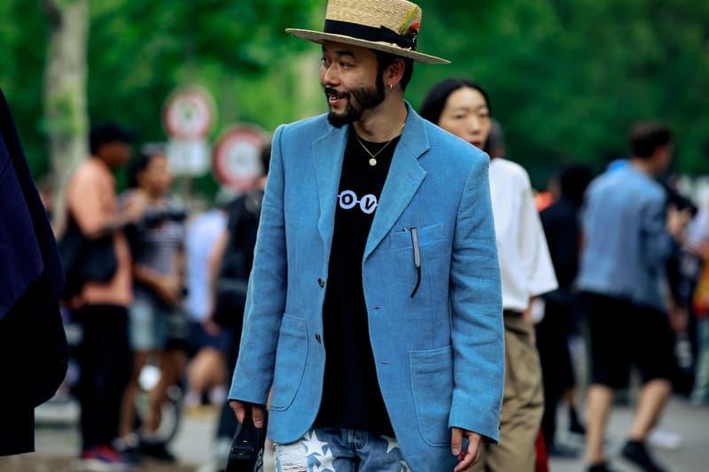 Paris Fashion Week Men's Spring Summer 2020 Street Style Jacket Blue Hat Tan