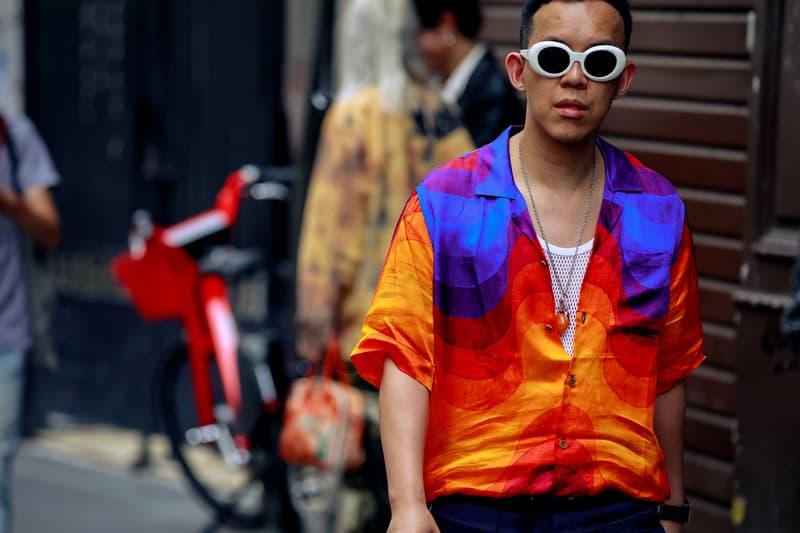 Paris Fashion Week Men's Spring Summer 2020 Street Style Shirt Orange Blue