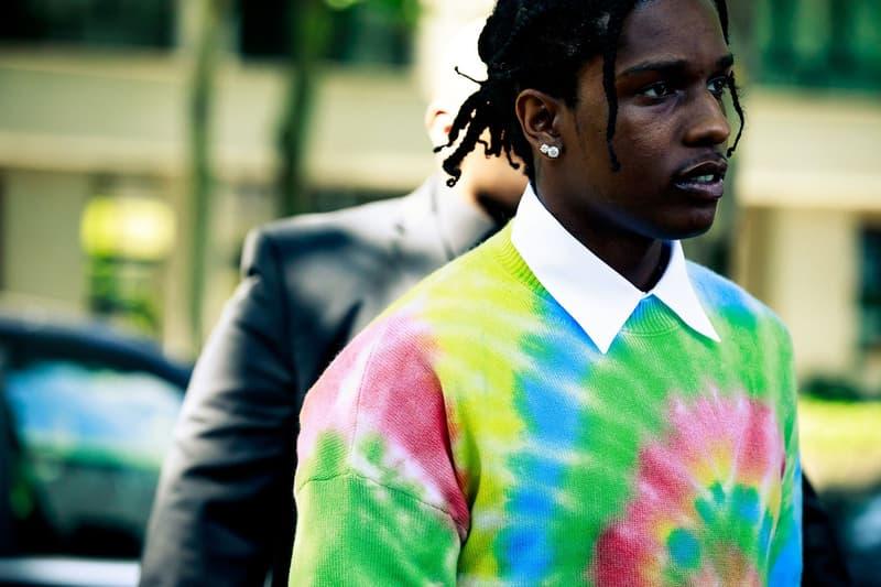 Paris Fashion Week Men's Spring Summer 2020 Street Style ASAP Rocky Sweater Green Pink