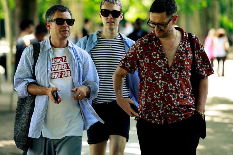 Paris Fashion Week Men's Spring Summer 2020 Street Style Jacket Blue Shirts White Red
