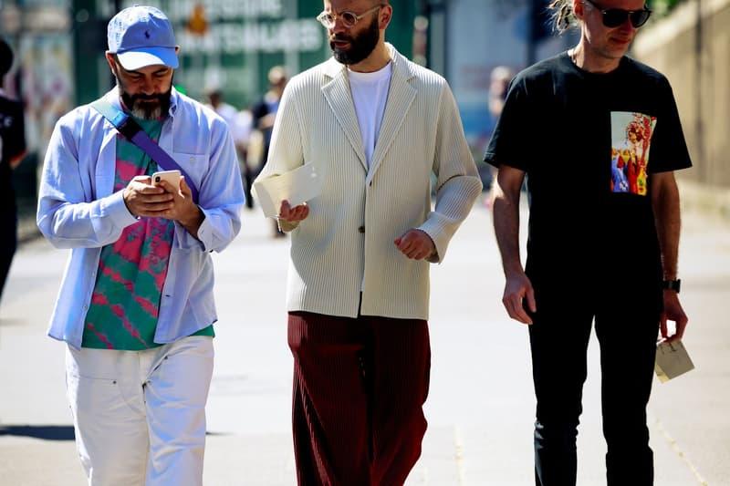 Paris Fashion Week Men's Spring Summer 2020 Street Style Jacket Blue Sweater Cream T Shirt Black