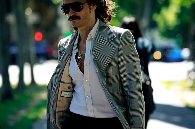 Paris Fashion Week Men's Spring Summer 2020 Street Style Jacket Green Shirt White