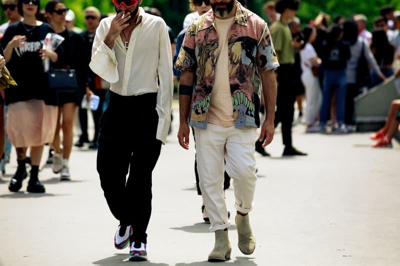 Paris Fashion Week Men's Spring Summer 2020 Street Style Shirt Pants Cream