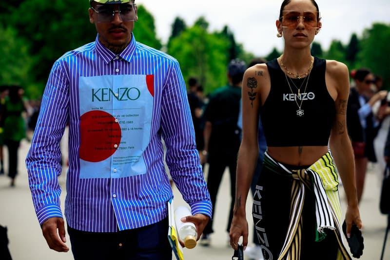 Paris Fashion Week Men's Spring Summer 2020 Street Style Kenzo Shirt Blue Sports Bra Black
