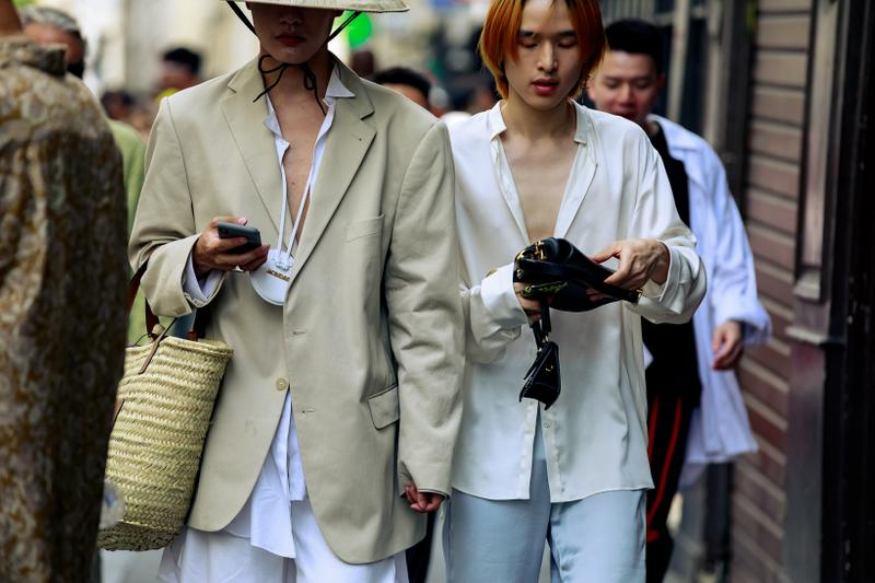 Paris Fashion Week Men's Spring Summer 2020 Street Style Jacket Tan Shirt White