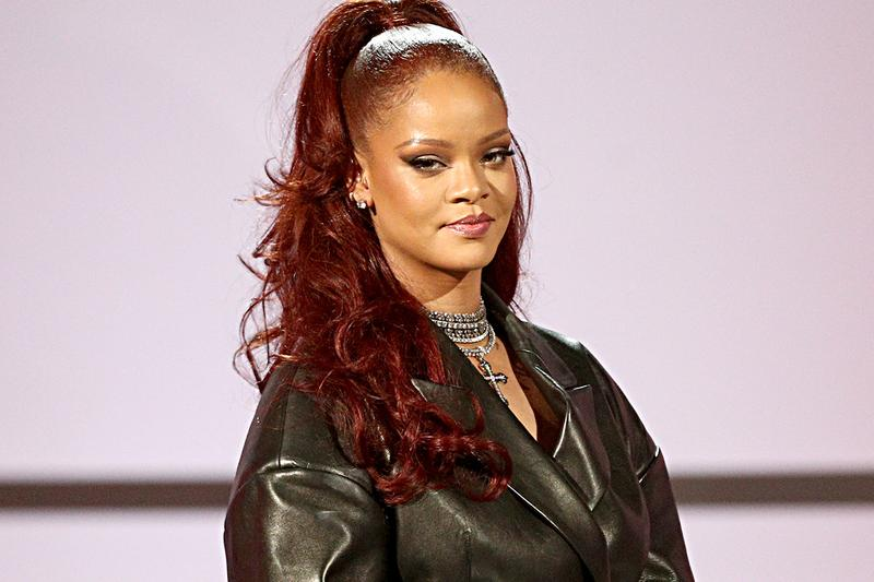 Rihanna Red Hair Color Half Updo Ponytail BET Awards 2019 FENTY Black Leather Blazer Suit Fanny Pack