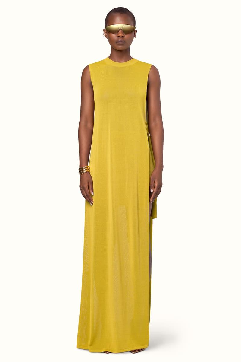 Rihanna Fenty LVMH Luxury Fashion Brand Maison Release 6 19 yellow sunglasses dress heels sandals