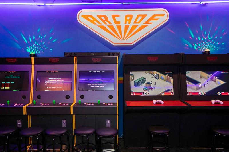 Stranger Things Seoul Pop Up Arcade Room Blue Purple Red