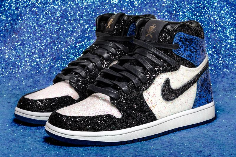 The Shoe Surgeon fragment design Blue Black White Pearl Glitter Air Jordan 1 Sneaker