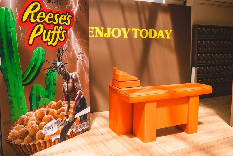 Travis Scott Reese's Puff Paris Pop Up Shop Cereal Box Brown Register Orange