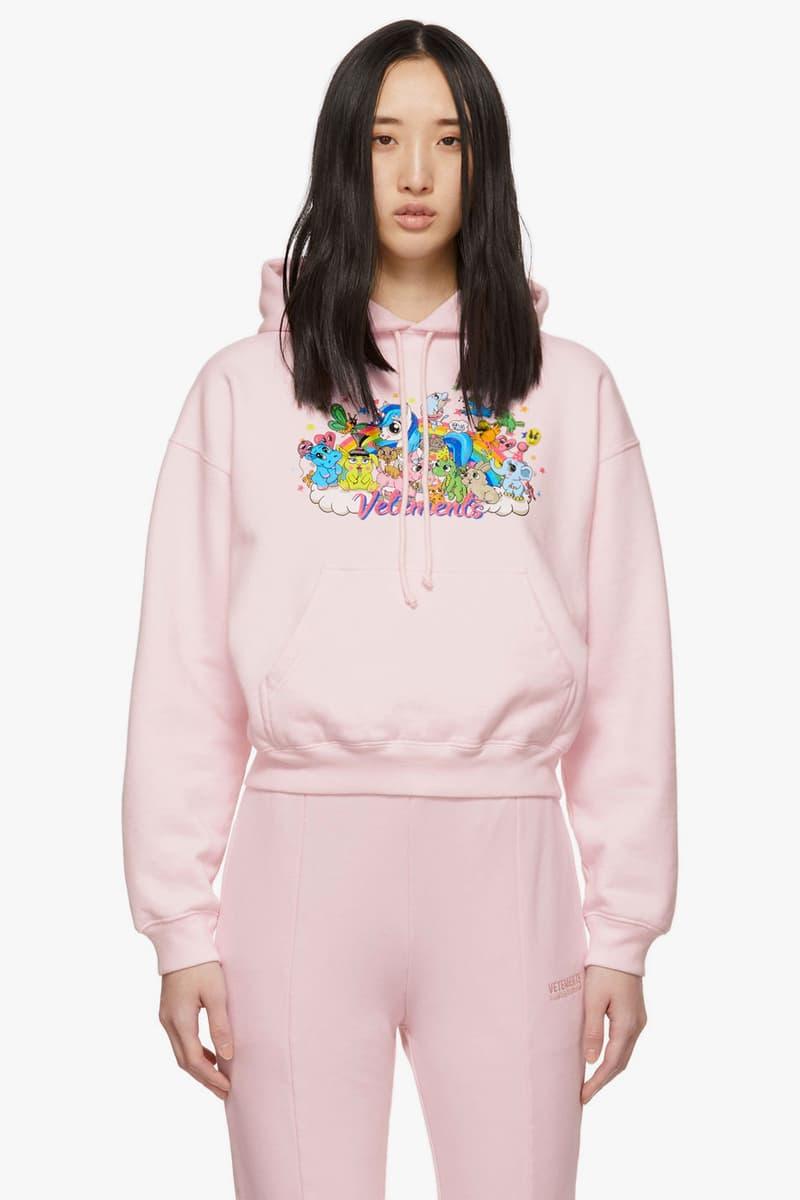 vetements demna gvasalia unicorn hoodie cropped pink cute characters ssense