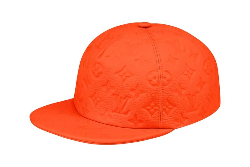 Virgil Abloh Louis Vuitton MCA Chicago Pop Up Collection Monogram Leather Cap Orange