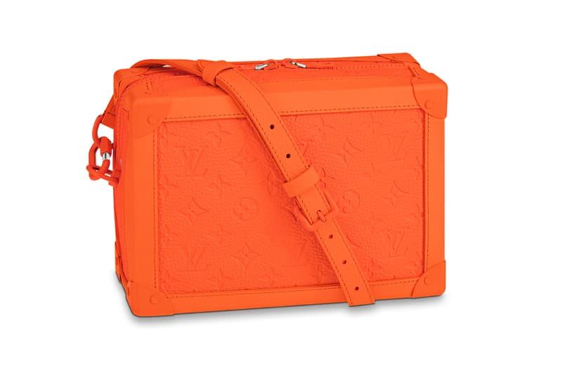 Virgil Abloh Louis Vuitton MCA Chicago Pop Up Collection Soft Trunk Taurillon Bag Orange