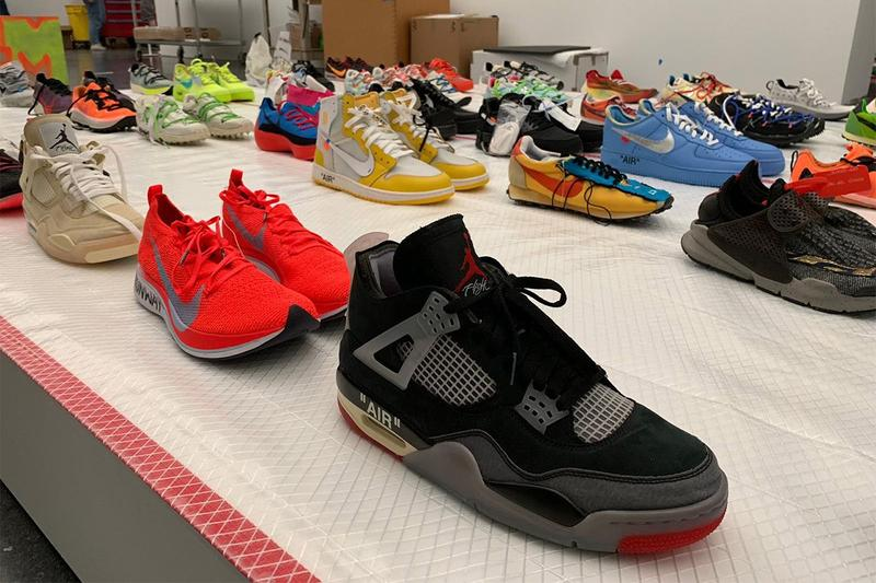 Virgil Abloh MCA Chicago Off White Nike Samples Air Jordan 4 Black Vaporfly Orange Tan