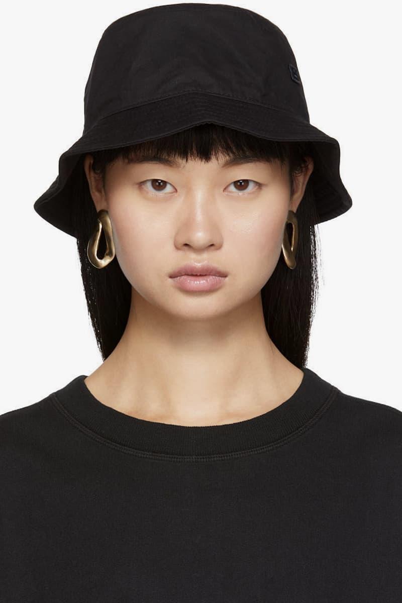 Acne Studios Summer Logo Bucket Hat Pink Black Face Applique Cotton Accessory