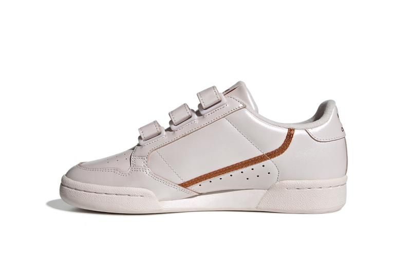 "adidas Originals Continental 80 ""Pearl Pink"" Sneaker Shoe Iridescent Trainer Pearly Rose Velcro Straps Retro"
