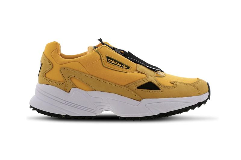 adidas Originals Falcon Yellow Black Zip Chunky Retro 90s Sneakers Trainers