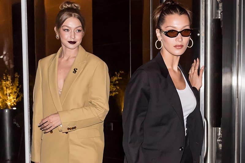Gigi Hadid Bella Sisters Suit Beige Black Sunglasses Dark Lipstick Models
