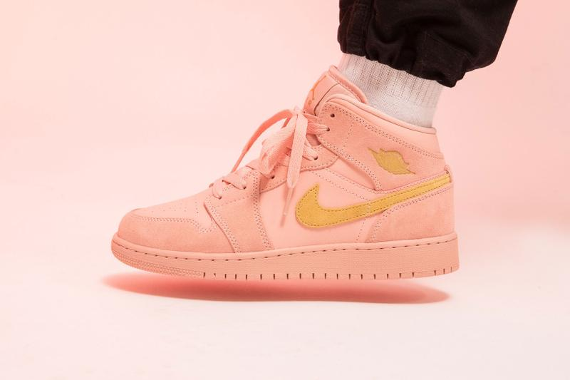 nike air jordan 1 mid gs coral stardust pink gold sneakers