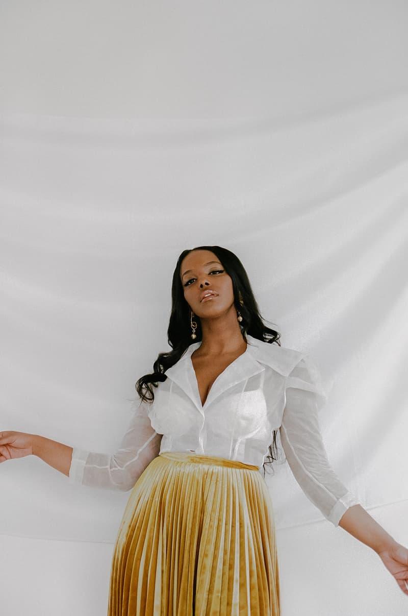 Amaal Black Dove Somali Canadian R&B Artist Music Singer Shirt Pleated Skirt Toronto Canada