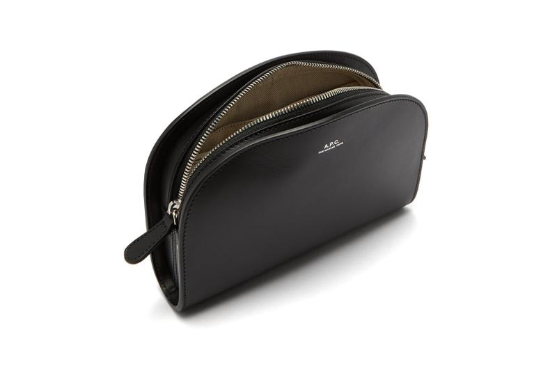apc half moon black leather belt bag