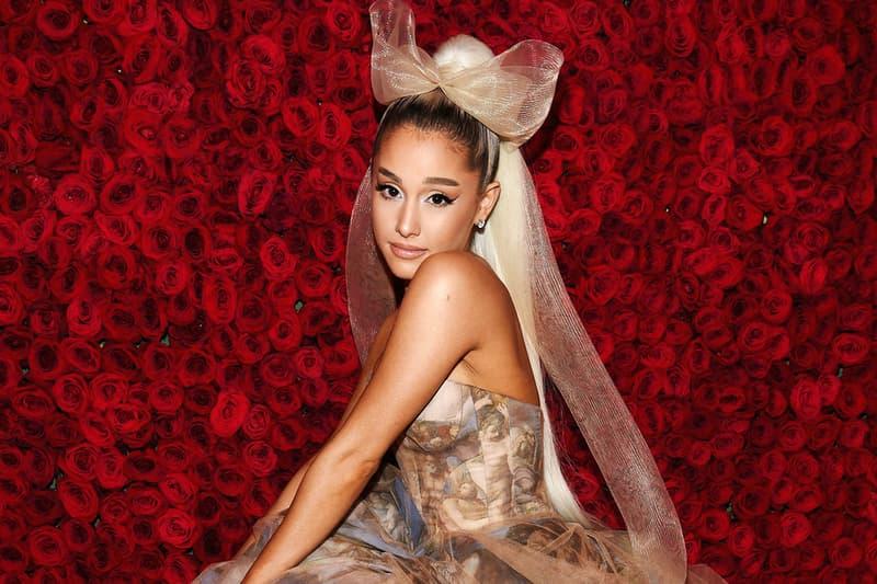 ariana grande acting met gala bow high ponytail dress cat eye makeup beauty hair singer thank u next roses