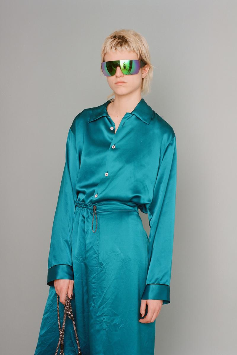 aries fall/winter 2019 collection teal blue silk set