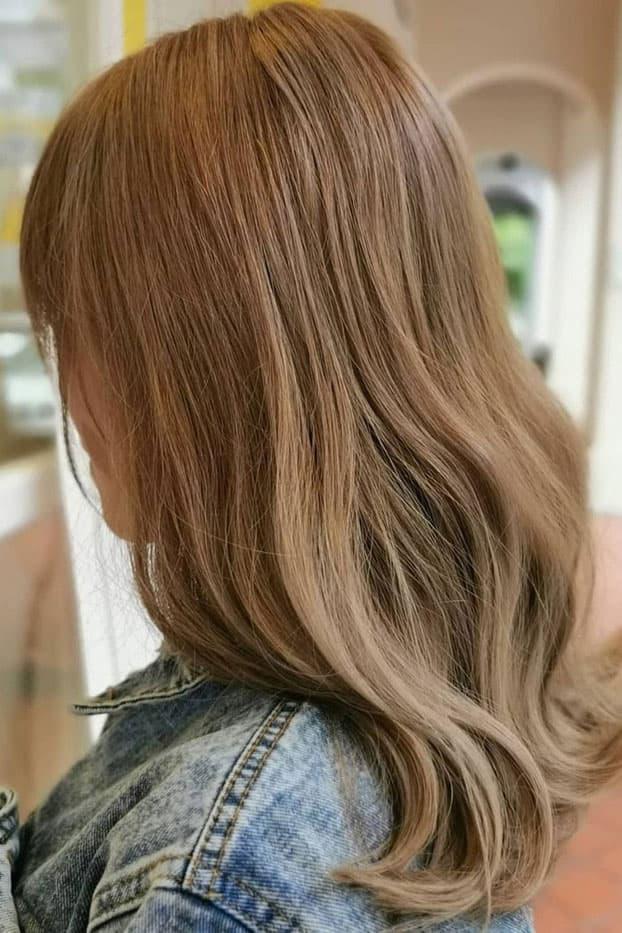 Milk Tea Hair Color Brown Brunette Long Bob
