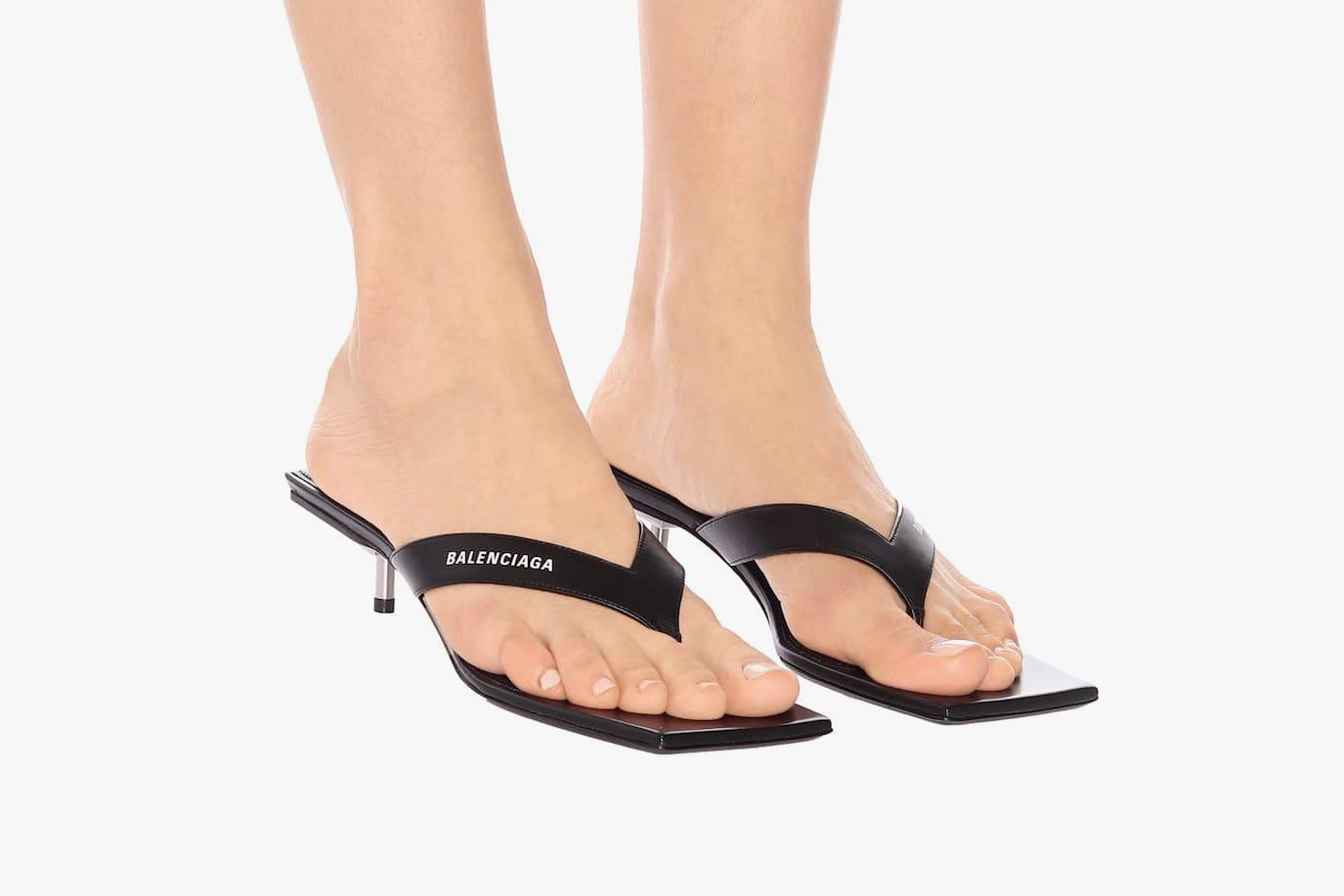 Balenciaga Metal 40 Black Flip Flop