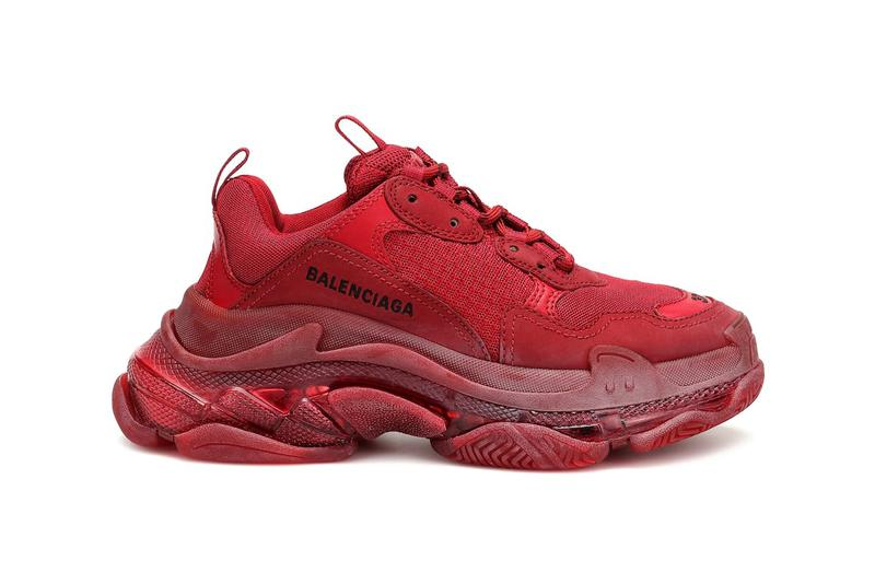 red balencaiga burgundy triple-s sneaker