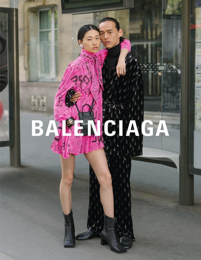 balenciaga winter campaign photos couple pink dress black boots robe bag