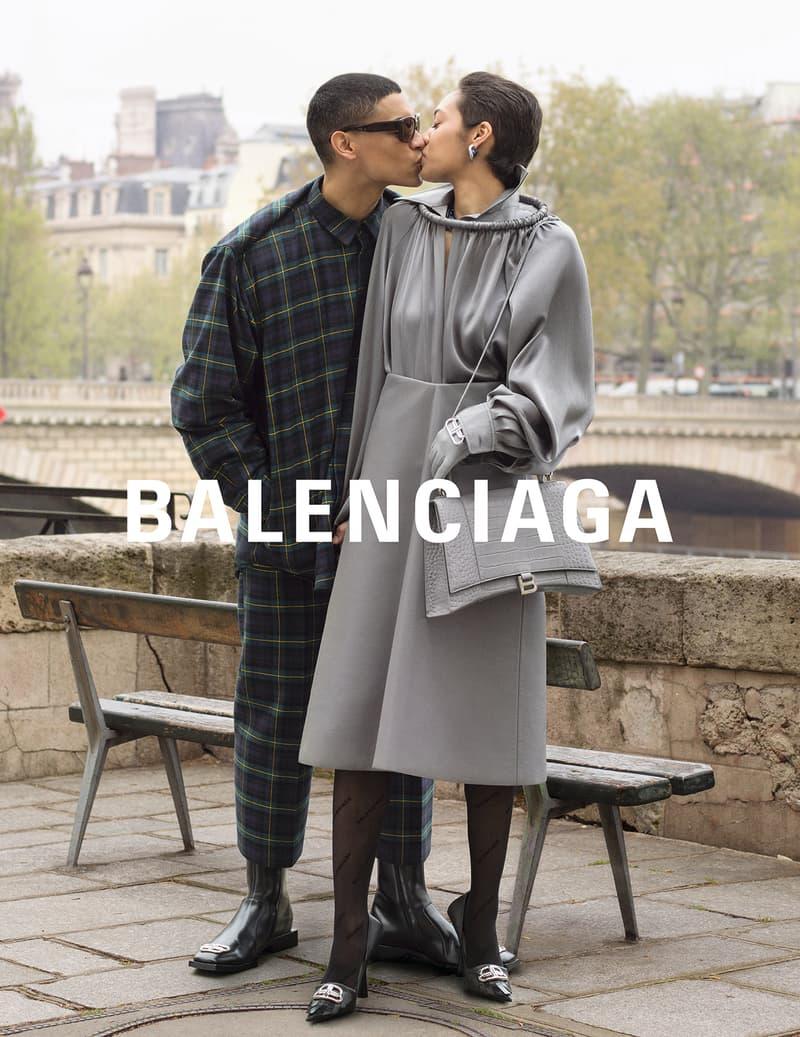 balenciaga winter campaign photos couple grey dress ring neckline tartan