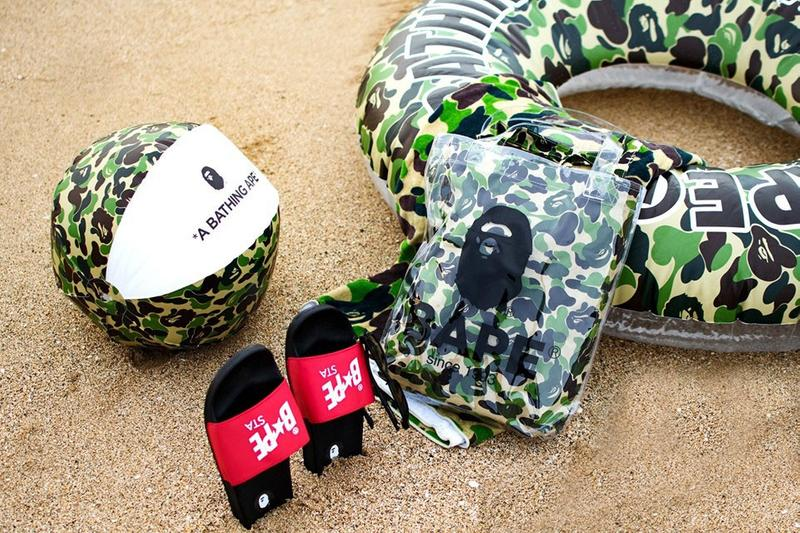 BAPE Summer Beach Collection Ball Float Ring Camo Print Camouflage A Bathing Ape Slides Pool Shoes Bag PVC Tote Logo