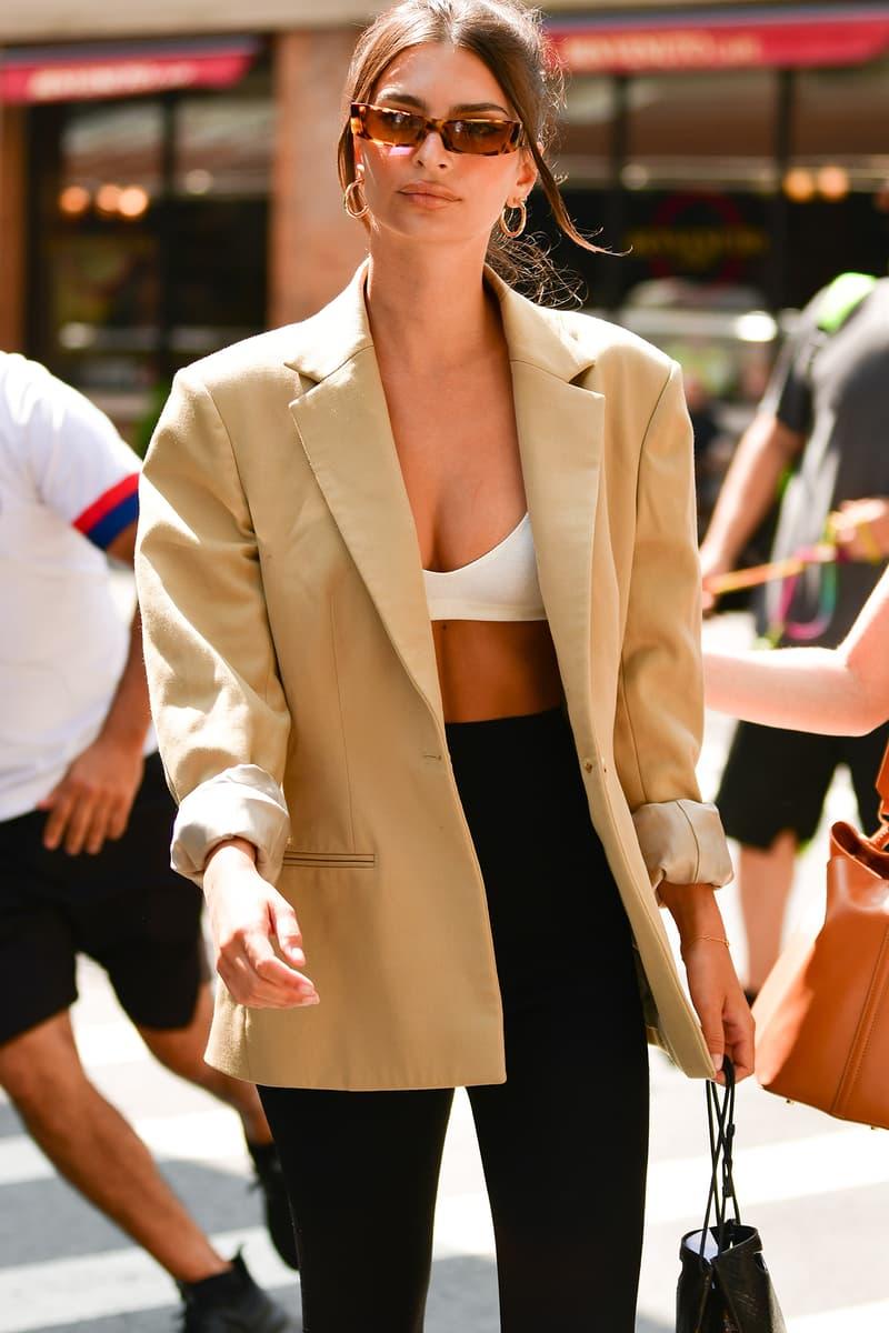 Emily Ratajkowski Blazer Beige Bra Capri Pants Knee Length Shorts Sunglasses Bag Handbag Street Style 2019 Updo Top Knot Hair Hairstyle Model Celebrity Fashion