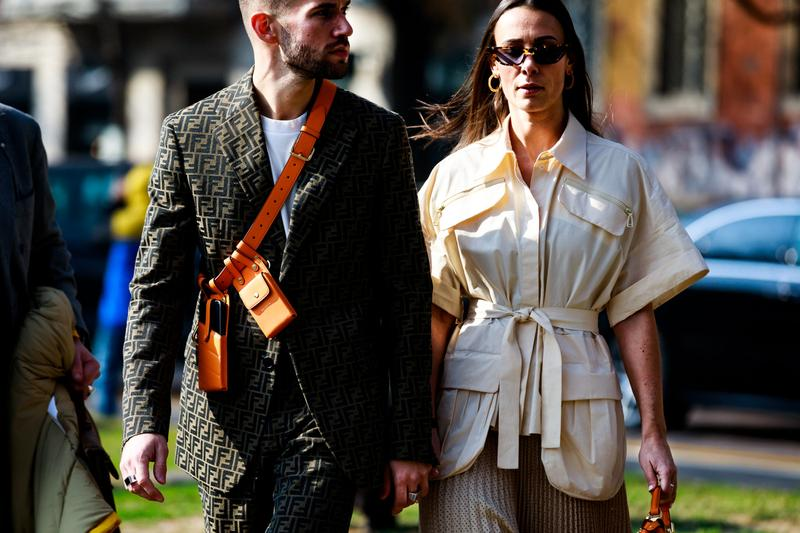 Milan Fashion Week Fall Winter 2019 Fendi Suit Brown Jacket Tan