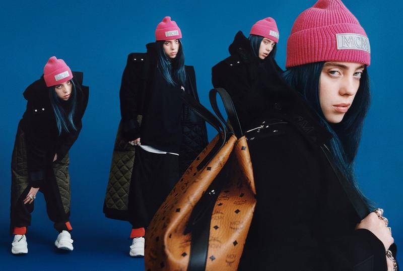 Billie Eilish MCM Fall Winter 2019 Campaign Jacket Black Hat Pink Bag Brown