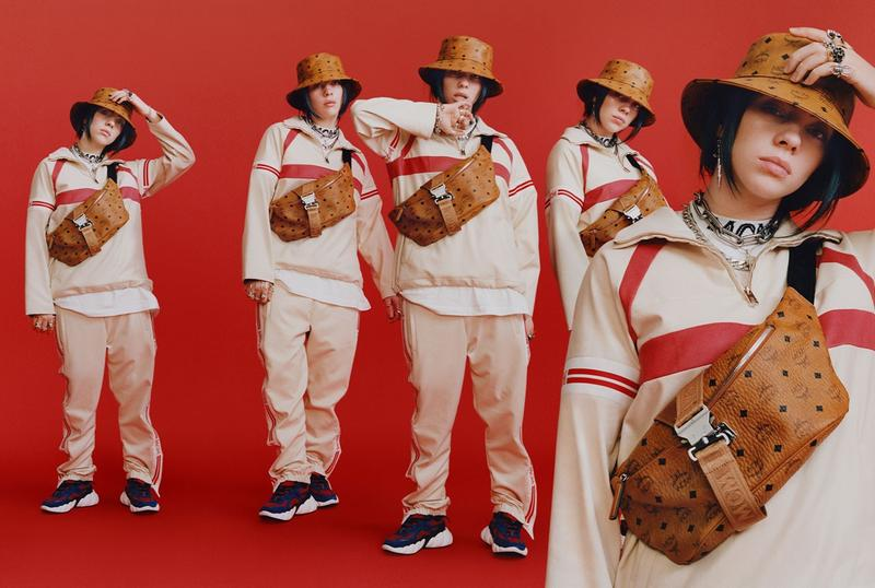 Billie Eilish MCM Fall Winter 2019 Campaign Jacket Sweat Pants White Bucket Hat Fanny Pack Brown