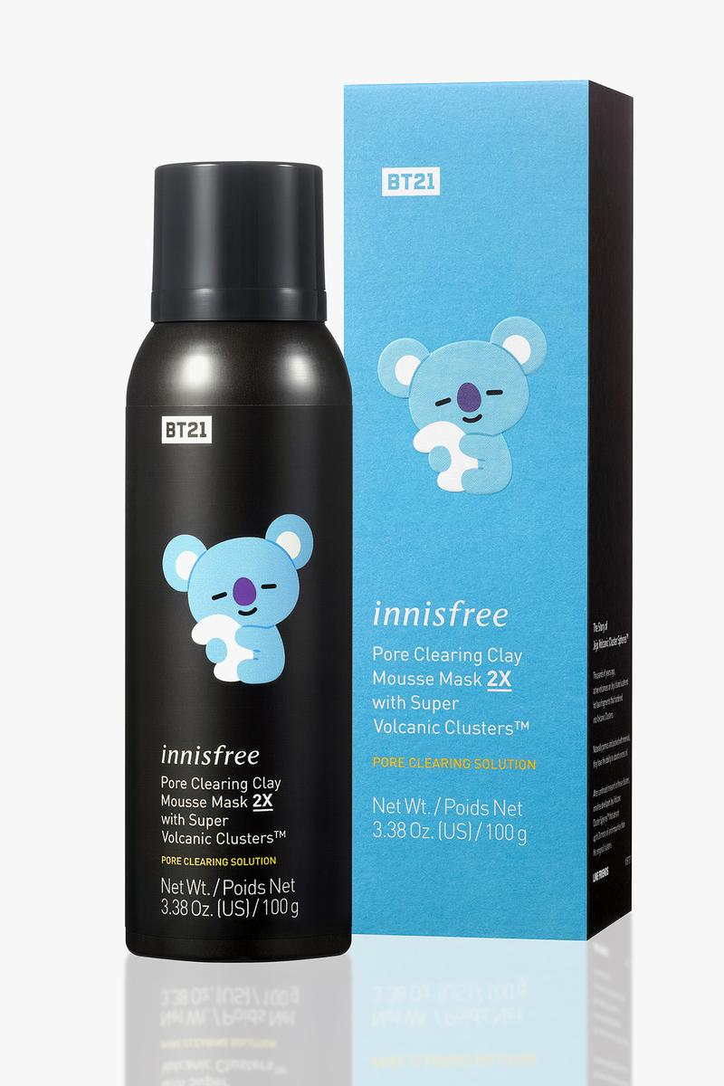 BT21 innisfree Limited Edition Skincare Collaboration BTS K-pop Line Friends Characters K-Beauty Korean Korea Pore Clearing Clay Mousse Mask 2X with Super Volcanic Clusters