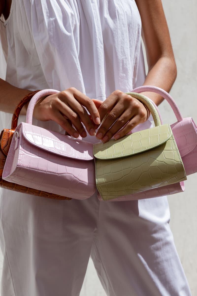 BY FAR Mini Croco Bag Soft Rose Sage Green