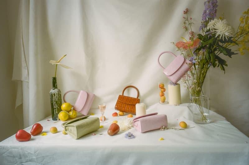 BY FAR Mini Croco Bag Soft Rose Sage Green Tan
