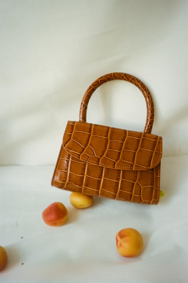 BY FAR Mini Croco Bag Tan