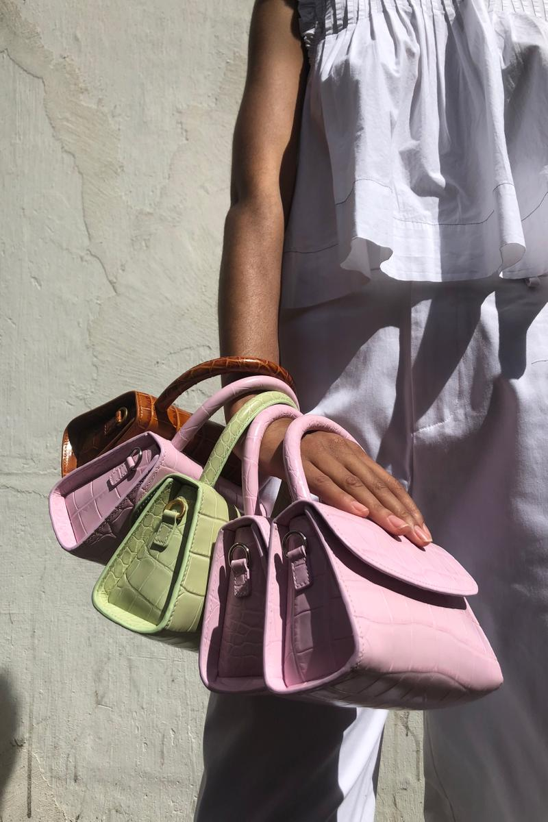 BY FAR Mini Croco Bag Soft Rose Tan Sage Green