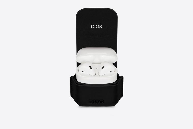 Dior AirPod Case Release Black Grey Leather Logo Branding Music Storage Luxury Accessory Fashion Detail