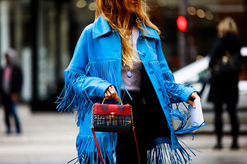 Paris Fashion Week Fall Winter 2019 Street Style Jacket Bag Blue