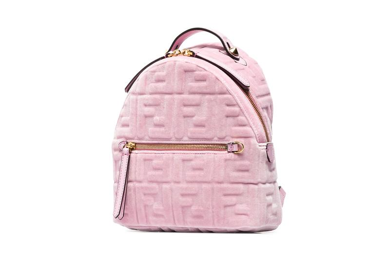 fendi pink ff logo velvet backpack browns designer bags luxury fashion luxury
