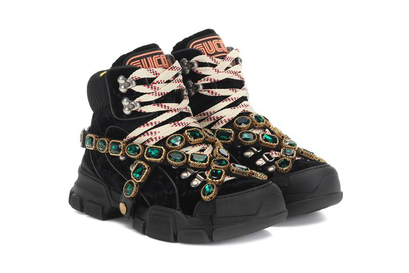 gucci flashtrek velvet sneakers green crystals