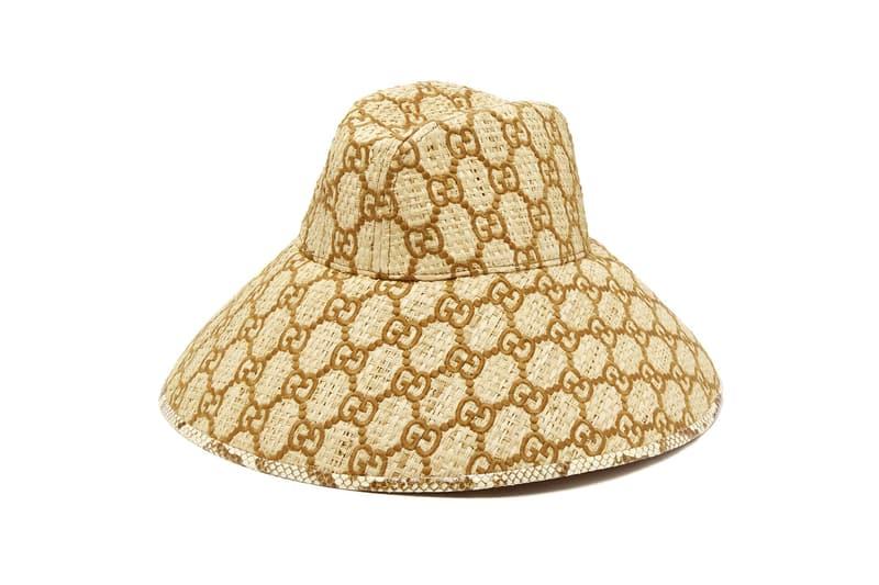 gucci GG logo raffia sun hat snakeskin print trim