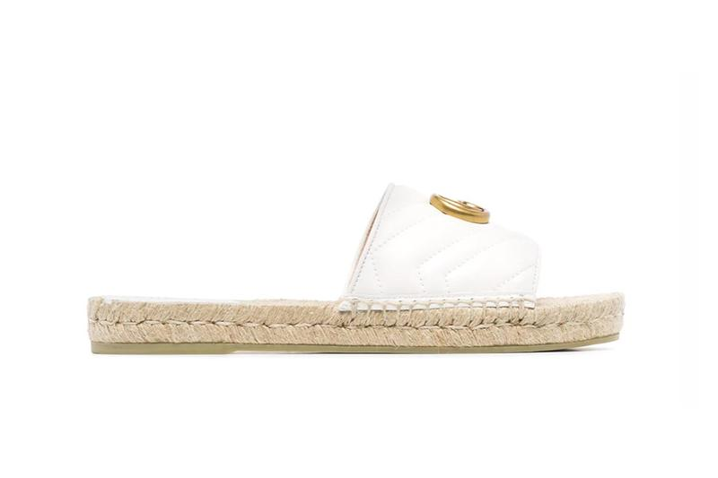 Gucci Pilar Quilted GG Leather Slides White